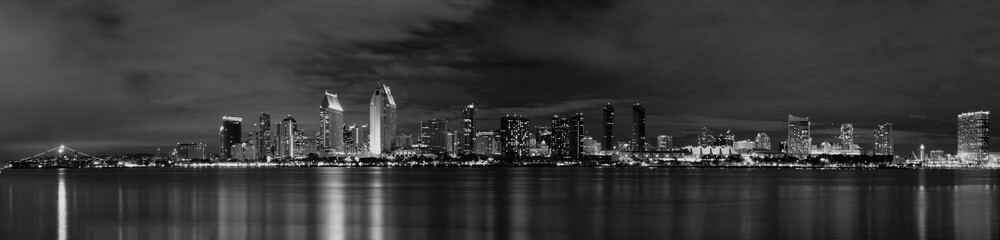San Diego Night - B&W
