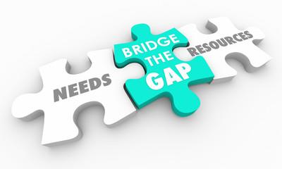Bridge the Gap Between Needs and Resources Puzzle 3d Render Illustration