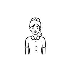 Nurse hand drawn outline doodle icon. Medical staff in uniform. Medicine, nursing and health care concept. Vector sketch illustration for print, web, mobile and infographics on white background.