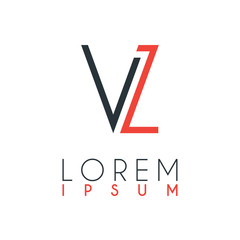 The logo between the letter V and letter L or VL with a certain distance and connected by orange and gray color