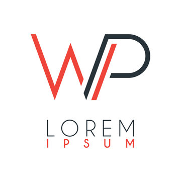 The logo between the letter W and letter P or WP with a certain distance and connected by orange and gray color