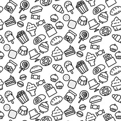 Simple pattern background outline of variety dessert icon on white background