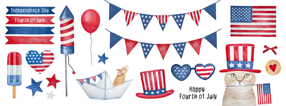 Independence Day (4th of July) Collection. Hand drawn watercolour graphic paint on white background, isolated clip art elements for holiday decoration and celebration design. Red, blue, white color.