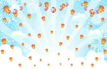 花火 灯篭 祭り