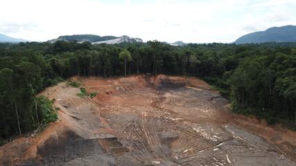 Deforestation. Aerial photo destruction of Borneo rainforest