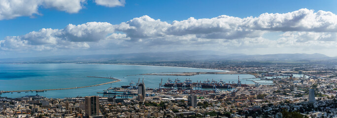 View from the top to city of Haifa in Israel and harbor at spring time.