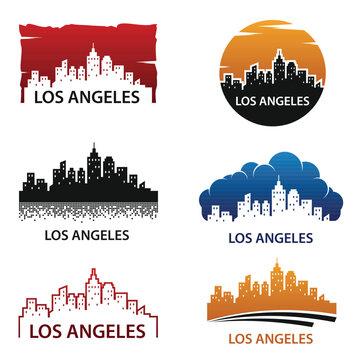 Los Angeles City Skyline Landscape Logo Template