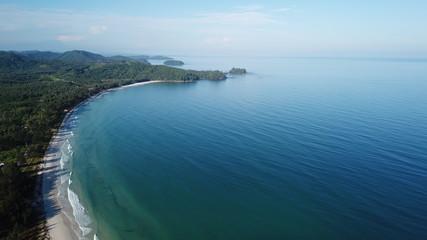 Aerial photo tropical beach and ocean