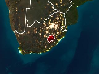 Map of Lesotho at night