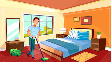 Man cleaning room vector illustration of househusband or college boy with vacuum cleaner on carpet. Clean home service worker in bedroom of modern or retro apartments interior with furniture