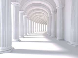 Long corridor interior. 3D Rendering. illustration Fototapete