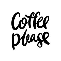Brush pen lettering with phrase coffee please.