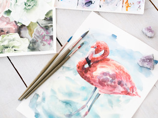 art painting skills. beautiful watercolor drawing of flamingo. work of a gifted painter.
