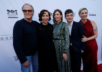 """Director Feste and cast members Fonda, Schaal, Farmiga and MacDougall pose at the premiere for the movie """"Boundaries"""" in Los Angeles"""