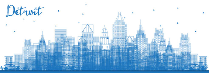 Wall Mural - Outline Detroit Michigan Skyline with Blue Buildings.