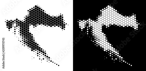 Dot halftone Croatia map. Vector geographic plan on white and black ...