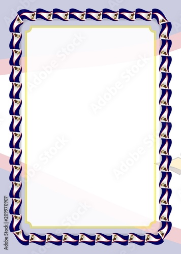 frame and border of ribbon with american samoa flag template