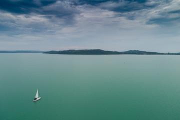 White sailing boat in Lake Balaton