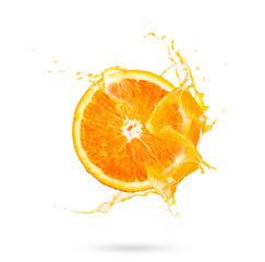 Fresh slide half of ripe orange fruit with orange juice splash water isolated on white background