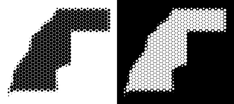 Pixel halftone Western Sahara map. Vector geographic scheme on white and black backgrounds. Abstract mosaic of Western Sahara map done of spheric spots.