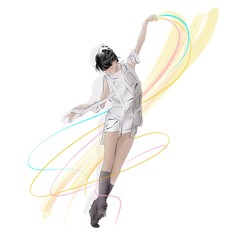 ballerina dancing freely wearing fashionable white outfit and holding colorful ribbons