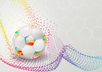 Abstract background with football and a colorful wave.