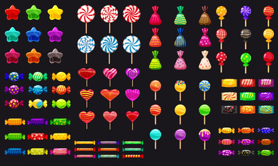 Supe set of different sweets on black background hard candies dragee jelly beans peppermint candy. Vector illustration,