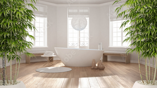 Zen Interior With Potted Bamboo Plant Natural Design Concept Classic Spa Bathroom