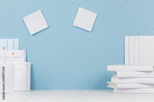 school template white books stationery blank stickers on white