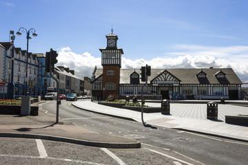 Portrush, Northern Ireland. Views of Kerr St and Portrush railway station, terminus of the Coleraine-Portrush railway line in the seaside town of Portrush, County Antrim