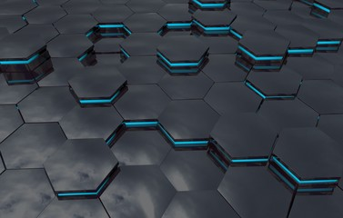 Abstract background with glowing hexagons elements