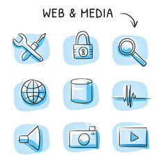 Set with different web icons, as tools, data block, media icons, tools, zoom and lock. Hand drawn cartoon sketch vector illustration, whiteboard marker style coloring.