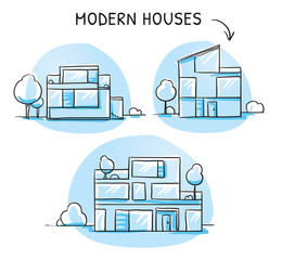 Set of different colorful modern noble designer houses, detached, single family houses with gardens and garage. Hand drawn cartoon sketch vector illustration, marker style coloring.
