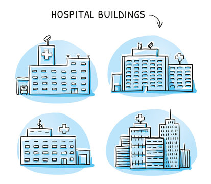 Set of different hospital buildings, medical center. Hand drawn cartoon sketch vector illustration, blue marker style coloring.