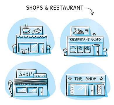 Set of different shop and restaurant buildings, cafe, store. Hand drawn cartoon sketch vector illustration, marker style coloring.