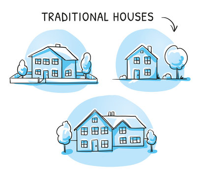 Set of 3 different colorful houses, detached, single family houses with gardens. Hand drawn cartoon sketch vector illustration, marker style coloring.