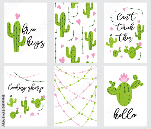 """""""Set cute ready-to-use gift tags with cactus Printable ..."""