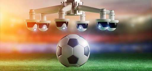 Camera assistance for the refereeing of football match concept - 3d rendering