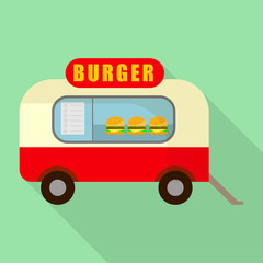 Street burger truck shop icon. Flat illustration of street burger truck shop vector icon for web design