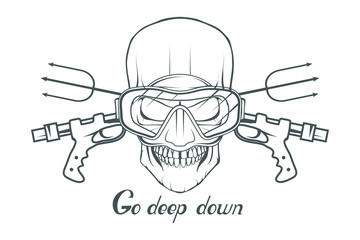 Diving. Scuba diving logo. Diver mask. Scuba-diving helmet. Skull in the mask of a diver. Vector graphics to design.