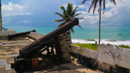Cannons at the roof of Elmina castle and fortress, Ghana