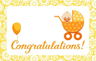 "Congratulations, new baby, greeting card, English, vector. In an orange stroller sits a baby. The inscription in English "" Congratulations!""Color, flat picture."