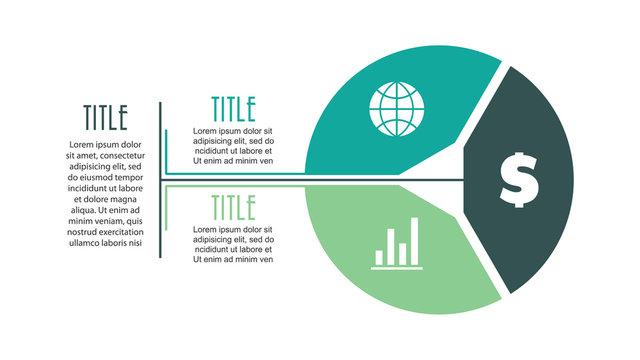 Vector circle infographic with 3 options. Cycle diagram, graph, presentation chart. Design for business concept with circular parts, equal steps, processes, brochure, workflow
