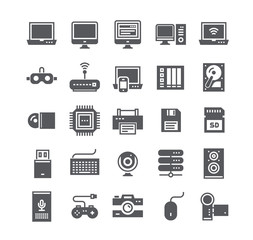 Simple flat high quality vector icon set,Tech computer and various device laptops, routers, voice secretaries, cameras and more.48x48 Pixel Perfect.