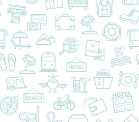 Travel, vacation, tourism, recreation, seamless pattern, outline, white, blue, vector. Different types of holidays and ways of travelling. Vector, color background.