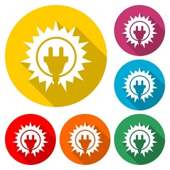 Solar energy design, Power electricity sun icon, color icon with long shadow