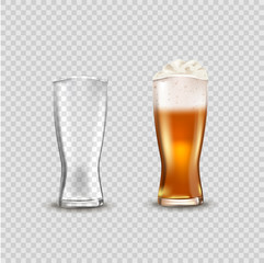 Glass cup with beer, ads soap beer attractive beer mockup in 3d template on transparent background stock illustration