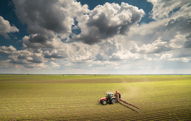 Fotomurales - Tractor spraying pesticides on soybean field with sprayer at spring