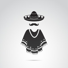 Mexican traditional clothing icon set. Vector art.