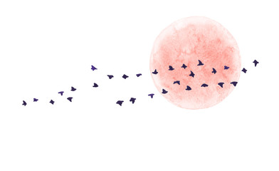 Red Moon and Flying Birds Isolated